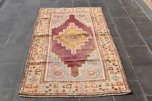 Vintage Bohemian Area Rug Turkish Handmade Oriental Oushak Ethnic Carpet 4x7 ft