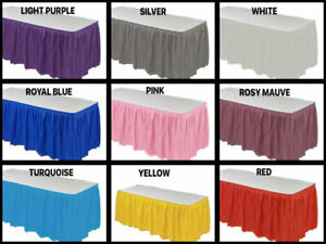 "Table SKIRT 14 ft x 29""  Pleated Plastic Disposable Waterproof Choose Color"