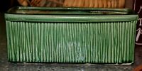 Vintage 50's McCoy Pottery Window box Jardiniere Green Vertical Lines MCM MARKED