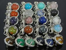 Natural Gemstone Round Ball Reiki Chakra Healing Elephant Pendant Necklace Beads