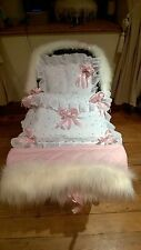 DOLLS PRAM QUILT SET FOR SILVER CROSS COACH BUILT FUR TRIM HAND MUFF Pink Bows