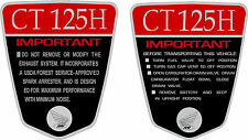 CT125H K1 CT70 H 125cc Custom frame decals, graphics, frame warning    RED
