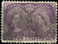 1897 Used Canada F+ Scott #62 $2.00 Diamond Jubilee Issue Stamp