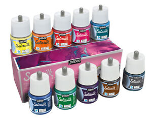Pebeo Setasilk Permanent Iron-Fix Soie Peinture 45ml Set 10 Couleurs Assorties