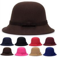 Women's Winter Flower Cloche Wool Felt Bucket Fishing Bowler Hat Cap Casual Soft