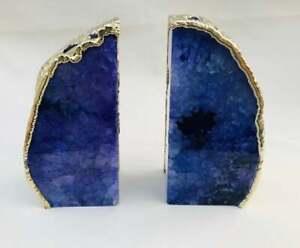 Handmade Indigo Plated Agate Smooth Bookends Brass Gemstone Natural Edges