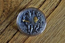 """Ares God of War"" 2 oz antique 999 silver Coin 24k gold gilding Rare collectable"