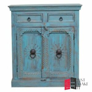 MADE TO ORDER Hand Carved Indian Handmade Solid Wood Blue Sideboard Floral
