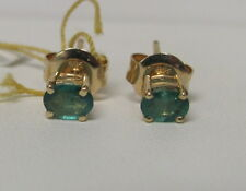 14KT Yellow Gold 3/8CTW Green Emerald Stud Earrings With Butterfly Back R7914