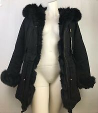 Black Real (Nyctereutes) Raccoon Fur & Fox Fur Collar Liner Parka Coat Hooded