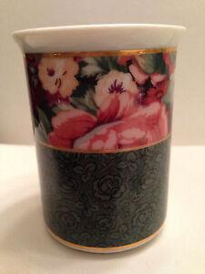 "Saturday Knight Ltd Toothbrush Holder Freestanding 4 Hole Peony Floral 3.5"" Rare"