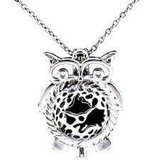 Owl pendant clock ebay k452 silver copper 26mm clock owl beads cage pendant stainless necklace jewelry mozeypictures Images