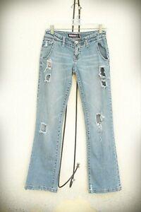 BUBBLEGUM Size 1/2 Destroyed Butterfly Bling Bootcut Denim Jeans