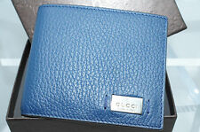 New Gucci Mens Wallet Bi-Fold Metal Tag Blue Signature GG Logo Credit Card Case
