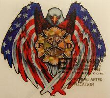 "Firefighter, American Flag Fire Department decal,  3.75"" high  #FD133"
