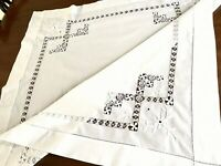 Vintage Hand Embroidered DRAWN THREAD WORK LACE White Cotton Table Cloth 34x35""