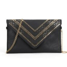 Black Studded Hollow Clutch Bag With Chain Shoulder Strap