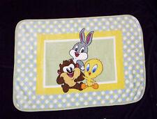 Looney Tunes Baby Bugs Bunny Taz Tweety Bird Blanket Throw Plush Luxe Green Blue