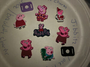 Peppa Pig Lot Of 7 Crocs Shoe,Bracelet Charms,Jibbitz,+2 Lace Adapters