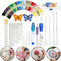 Magic-DIY Embroidery Pen Knitting Sewing Tool Kit Punch Needle+50 Threads Set