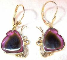 Rare Watermelon Tourmaline 8.50ct 14k Yellow Gold Dangle Butterfly Earrings MY18
