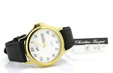 Vergoldete Armbanduhren aus echtem Leder mit 12-Stunden-Zifferblatt für Herren