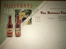 Rare Felsenbrau Beer Color Letterhead Cincinnati Ohio Defiance Commission 1930s