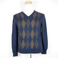 Banana Republic Men's M - Blue Merino Wool Pullover V Neck Knit Sweater Diamond