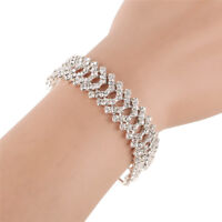 Charm Wedding Fashion Bangle Bracelet Hand Chain Jewelry for Women Crystal