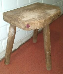Lovely Antique Wooden 3 legged Milking Stool