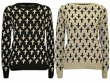 New Ladies Cross Print Winter Knit Wear Sweat shirt Jumper Tops 8-14