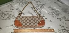 Gucci Brown Canvas Logo with Gold Chain Hardware small bag . NEW