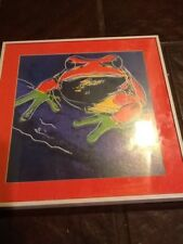 Framed Frog Print Abstract Art 14 1/2""