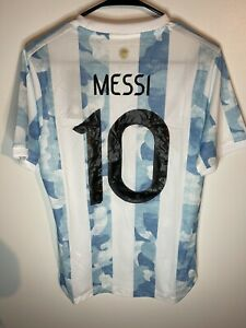 Argentina Messi 10 International Home Jersey Player Edition Size Medium