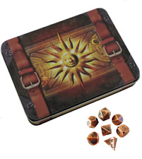 Cleric's Prayerbook with Antique Brass Color with Black Numbers Metal Dice