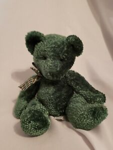 "Russ Teddy Bear Shawn Green w Green  Tan Bow Plush 11""  Retired EUC"