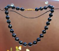 "Jet black french glass faceted 10mm bead knotted 16"" NECKLACE"