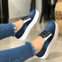 Women Denim Canvas Pumps Slip On Flat Loafers Casual Sneaker Comfy Shoes Size 7