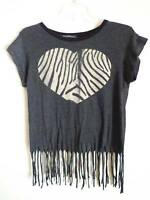 Wildfox Couture gray Cropped fringed T shirt zebra heart print Love  Size M New
