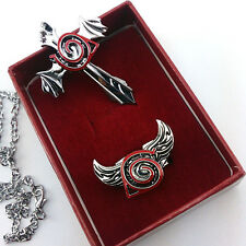 Anime Naruto Leaf Marks Design Pendant Necklace Ring Cosplay Set New
