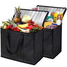 2Pack Insulated Reusable Grocery Bag Food Delivery Bag with Dual Zipper