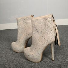 Womens Pointed Toe Zipper Shoes Ankle High Heels Platform Party Rhinestone Boots