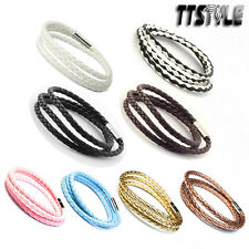 TTstyle leather Three Row Wristband Bracelet 7 Colours Available NEW