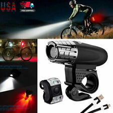 USB Rechargeable Bike Headlight LED Bicycle Front Head Lamp Rear Tail Light USA