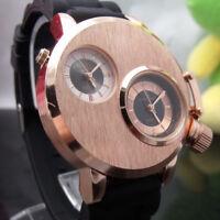 Mens Fashion Quartz Analog Stainless Steel Case Waterproof Dual Time Wrist Watch