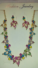 Mixed colour   Diamante Flower crystal Necklace & earrings set Gold colour chain