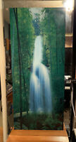 Large! VTG Light Up Motion Waterfall Wall Picture With Water Bird Sounds 38x19x3