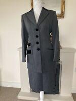 Vintage St Michael M&S Women 2 Piece Suit Grey With Black Velvet 12 SKIRT+blazer