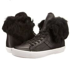 REBECCA MINKOFF Black Leather Rabbit Fur Trimmed High Top Sneakers Size 6