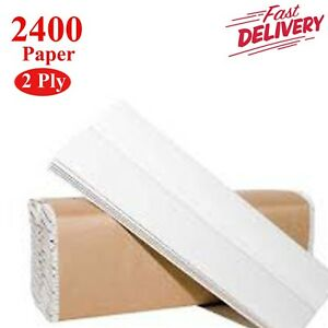 CASE OF 2400 WHITE 2 PLY Z-FOLD PAPER HAND TOWELS FAST DELIVERY